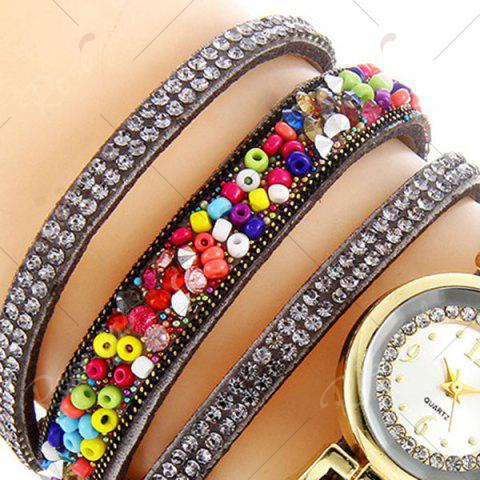 Latest Rhinestone Beaded Faux Leather Quartz Bracelet Watch - GRAY  Mobile