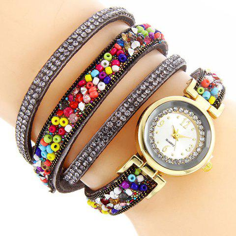 Chic Rhinestone Beaded Faux Leather Quartz Bracelet Watch - GRAY  Mobile
