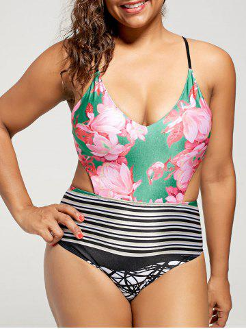 Cut Out High Waisted Swimsuit - Colormix - Xl
