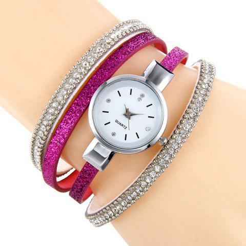 Outfits Faux Leather Strap Rhinestoned Bracelet Watch - TUTTI FRUTTI  Mobile