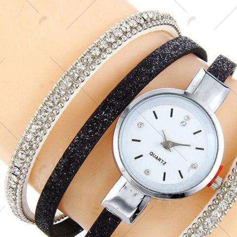 Outfit Faux Leather Strap Rhinestoned Bracelet Watch - BLACK  Mobile