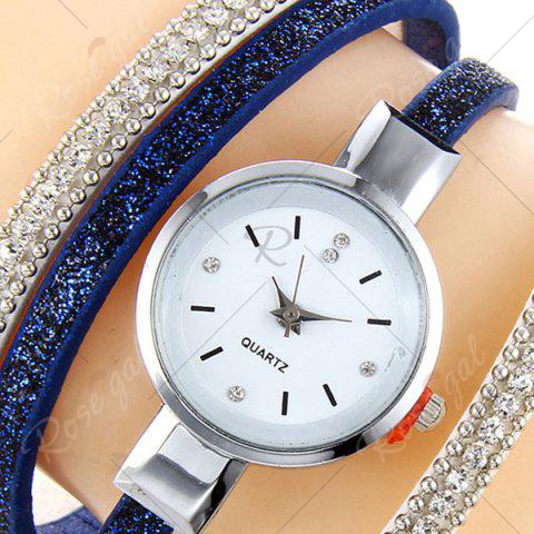 Outfits Faux Leather Strap Rhinestoned Bracelet Watch - BLUE  Mobile