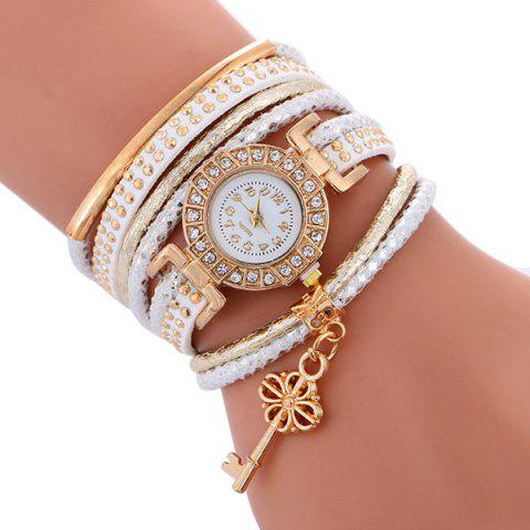 Outfits Studed Key Number Wrap Bracelet Watch - WHITE  Mobile