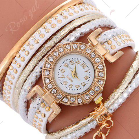 New Studed Key Number Wrap Bracelet Watch - WHITE  Mobile