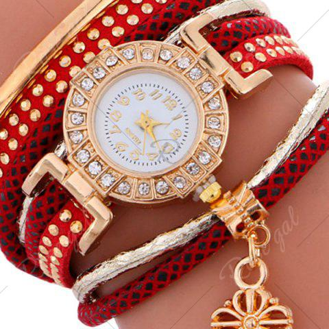 Outfit Studed Key Number Wrap Bracelet Watch - RED  Mobile