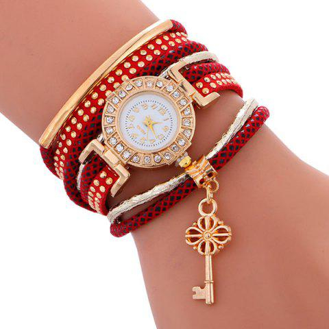 Cheap Studed Key Number Wrap Bracelet Watch - RED  Mobile