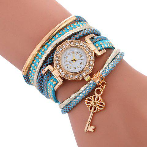 Discount Studed Key Number Wrap Bracelet Watch - BLUE  Mobile