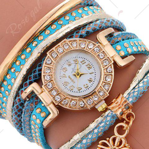 Outfits Studed Key Number Wrap Bracelet Watch - BLUE  Mobile