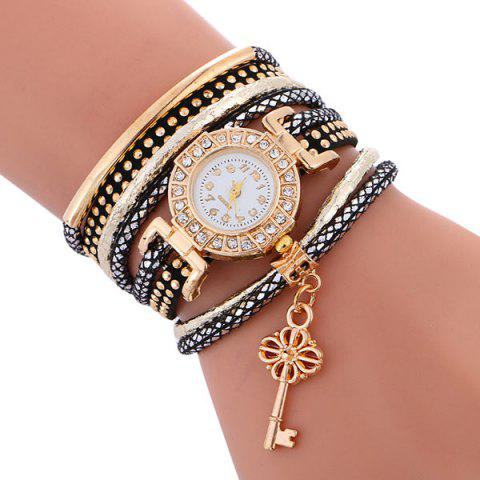 Best Studed Key Number Wrap Bracelet Watch - BLACK  Mobile