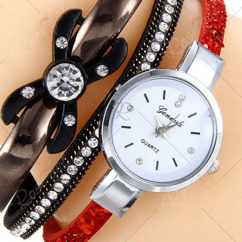 Outfit Rhinestone Faux Leather Strap Bracelet Watch - RED  Mobile