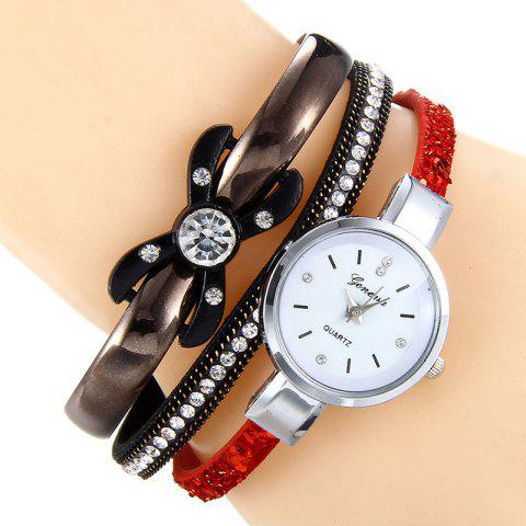 Cheap Rhinestone Faux Leather Strap Bracelet Watch - RED  Mobile