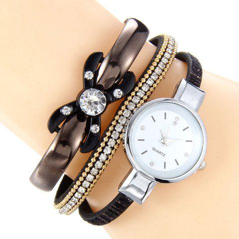 Rhinestone Faux Leather Strap Bracelet Watch - Black
