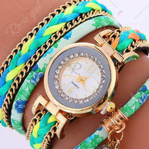 Sale Chain Braided Layered Charm Bracelet Watch - GREEN  Mobile
