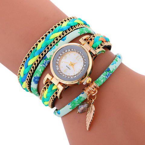 Shops Chain Braided Layered Charm Bracelet Watch - GREEN  Mobile