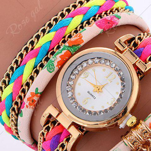Buy Chain Braided Layered Charm Bracelet Watch - PINK  Mobile