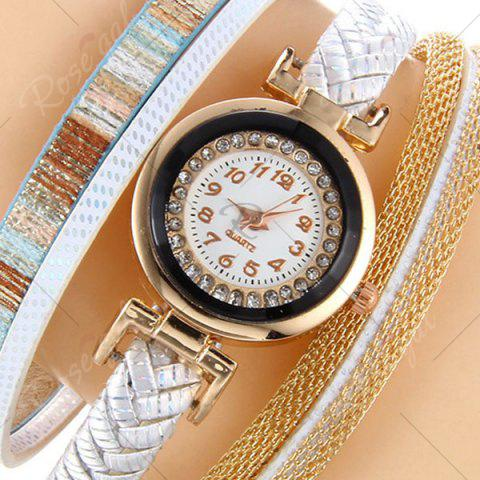 Cheap Chain Braided Number Quartz Bracelet Watch - WHITE  Mobile