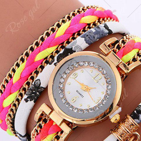 Outfit Chain Braided Layered Charm Bracelet Watch - GRAY  Mobile