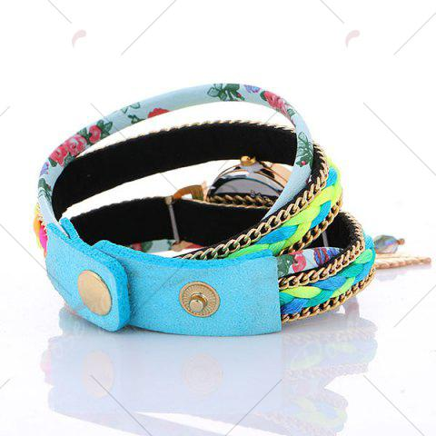 Hot Chain Braided Layered Charm Bracelet Watch - AZURE  Mobile