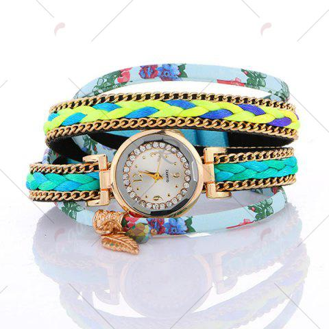 Buy Chain Braided Layered Charm Bracelet Watch - AZURE  Mobile