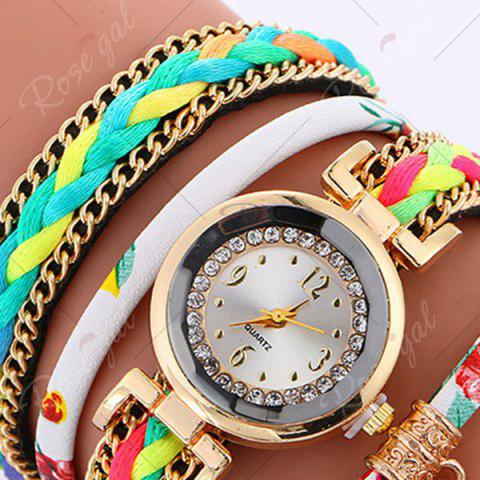 Best Chain Braided Layered Charm Bracelet Watch - WHITE  Mobile
