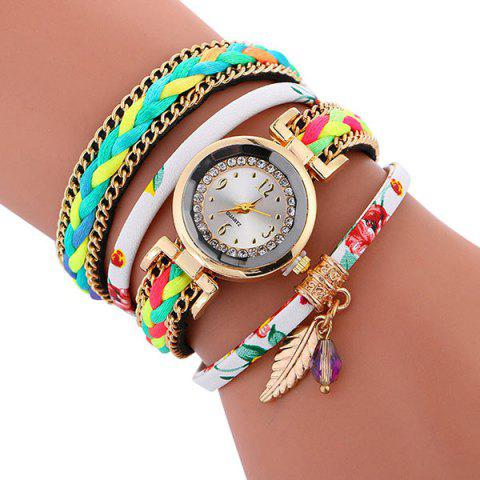 Hot Chain Braided Layered Charm Bracelet Watch - WHITE  Mobile
