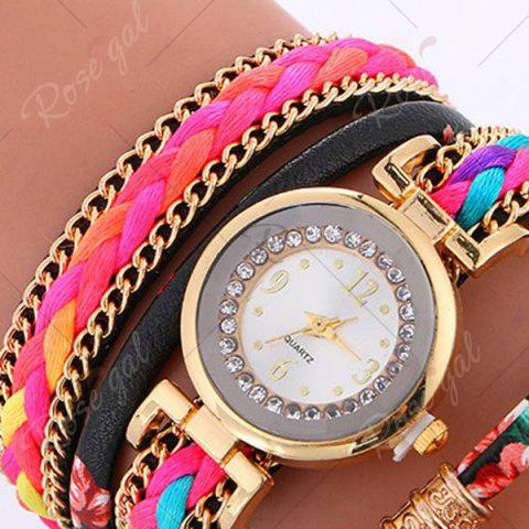 Affordable Chain Braided Layered Charm Bracelet Watch - BLACK  Mobile