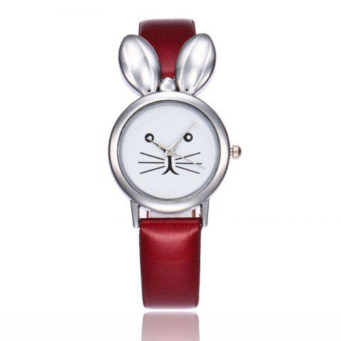 Store Rabbit Ears Faux Leather Strap Watch - RED  Mobile