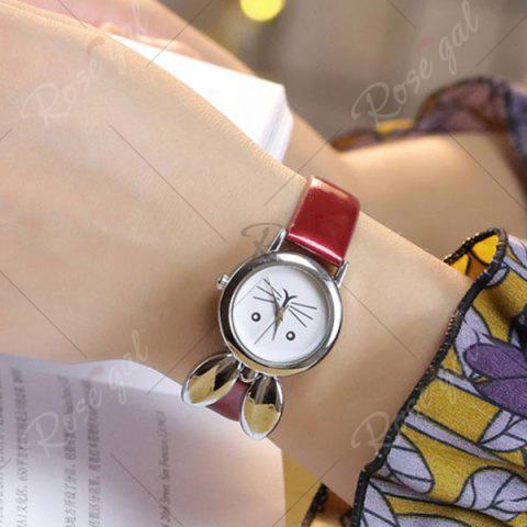 Buy Rabbit Ears Faux Leather Strap Watch - RED  Mobile