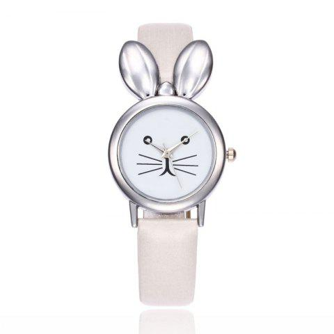 Discount Rabbit Ears Faux Leather Strap Watch - WHITE  Mobile