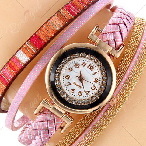 Discount Chain Braided Number Quartz Bracelet Watch - PINK  Mobile