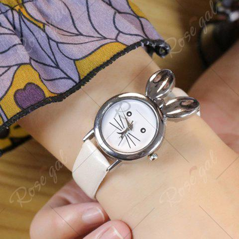 Outfits Rabbit Ears Faux Leather Strap Watch - WHITE  Mobile