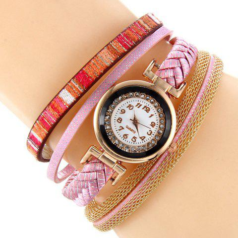 Fashion Chain Braided Number Quartz Bracelet Watch - PINK  Mobile