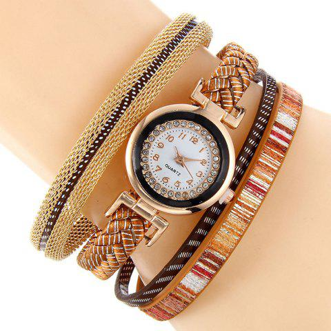 New Chain Braided Number Quartz Bracelet Watch - BROWN  Mobile
