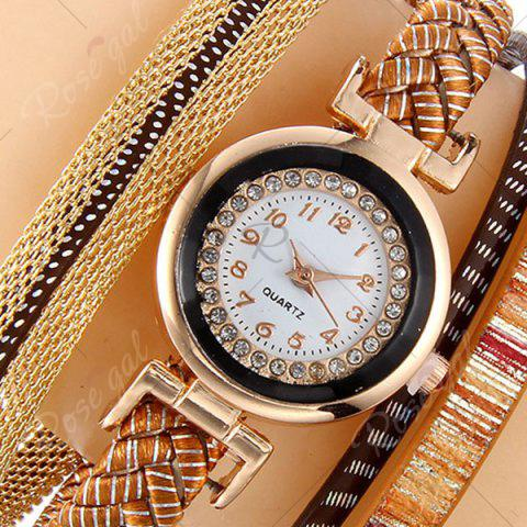 Store Chain Braided Number Quartz Bracelet Watch - BROWN  Mobile