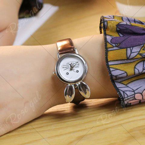 Shop Rabbit Ears Faux Leather Strap Watch - COFFEE  Mobile