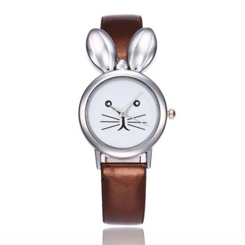 Store Rabbit Ears Faux Leather Strap Watch - COFFEE  Mobile