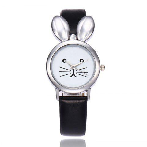 Outfits Rabbit Ears Faux Leather Strap Watch - BLACK  Mobile