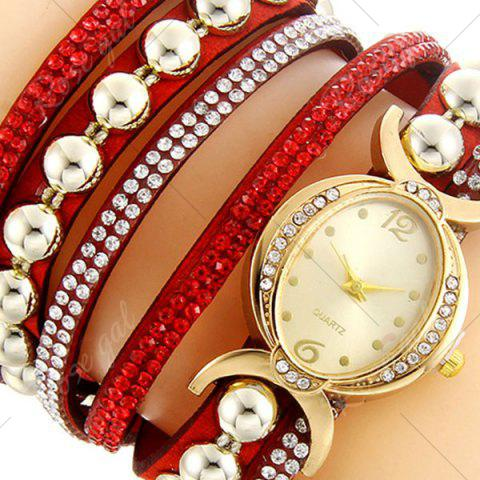Outfits Faux Leather Rhinestone Bead Bracelet Watch - RED  Mobile