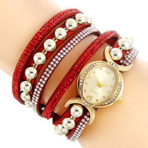 Discount Faux Leather Rhinestone Bead Bracelet Watch - RED  Mobile