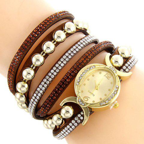 Affordable Faux Leather Rhinestone Bead Bracelet Watch - BROWN  Mobile