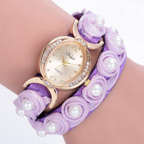 Outfit Faux Pearl Flower Quartz Bracelet Watch - PURPLE  Mobile