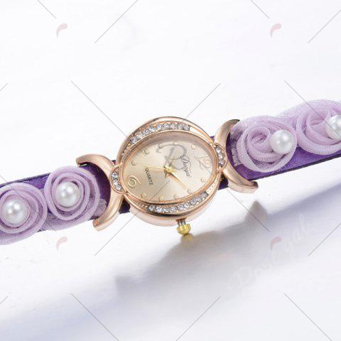 Online Faux Pearl Flower Quartz Bracelet Watch - PURPLE  Mobile