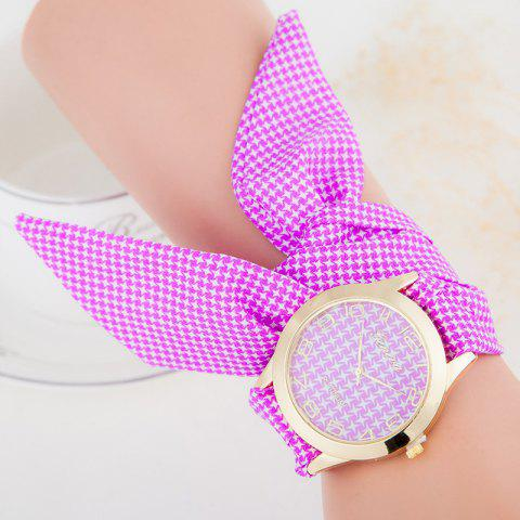 Online Ribbon Strap Quartz Bracelet Watch - PURPLE  Mobile