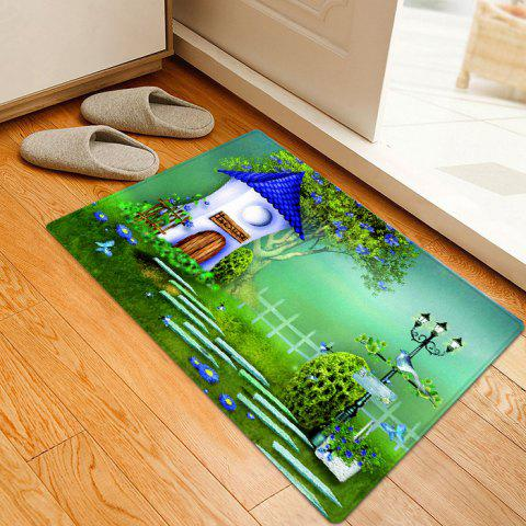 Affordable Cartoon House Pattern Anti-skid Water Absorption Area Rug - W16 INCH * L24 INCH GREEN Mobile