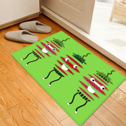 Chic Watermelon Cartoon Pattern Anti-skid Water Absorption Area Rug - W16 INCH * L24 INCH GREEN Mobile