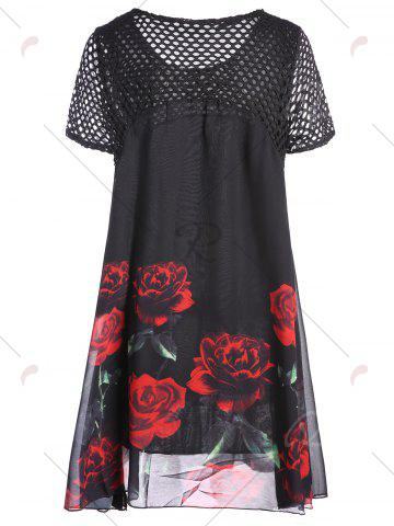 Discount Plus Size Floral Long Top - 3XL RED Mobile
