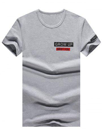 Chic Short Sleeve Grow Up Print Graphic Tee GRAY L