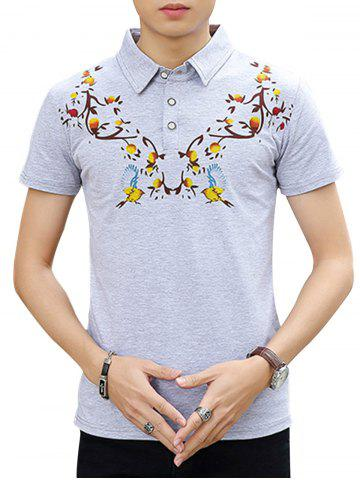 Chic Chinoiserie Print Polo Shirt - 3XL LIGHT GRAY Mobile