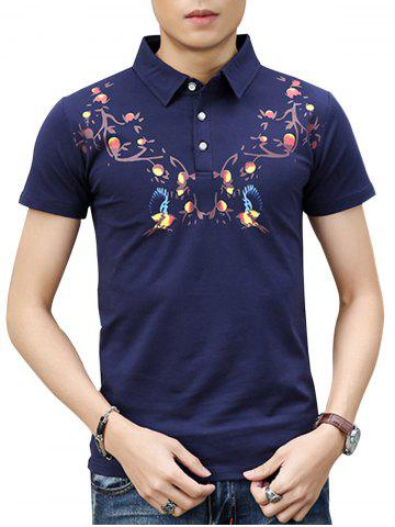 Fashion Chinoiserie Print Polo Shirt - 3XL ROYAL Mobile