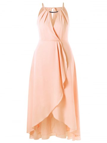 Store Plus Size Cut Out Overlap Flowy Dress PINKBEIGE XL